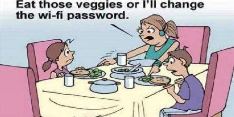 coma as verduras ou trocarei a senha do wifi