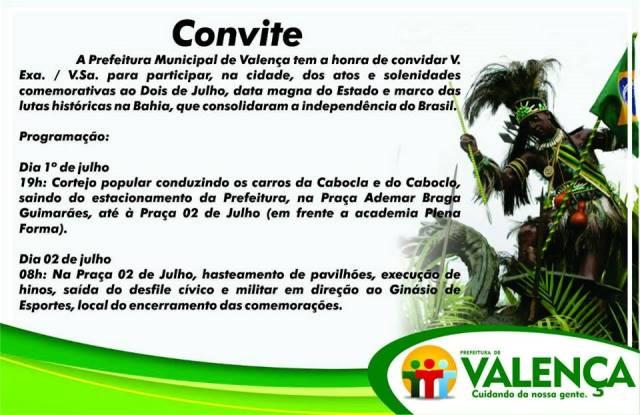 Convite - Comemorações 2 de julho - Independência da Bahia