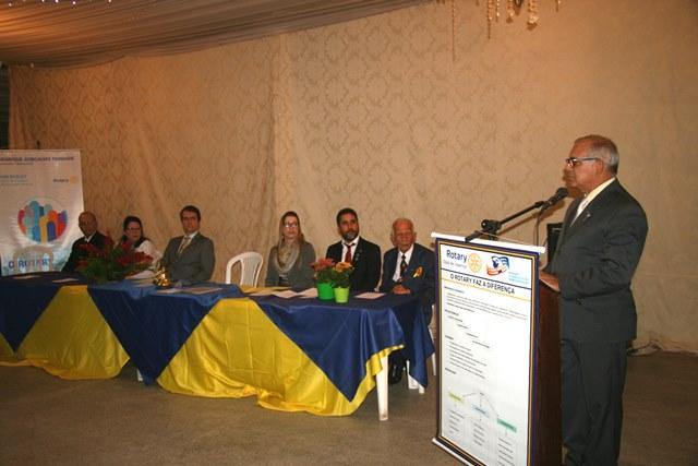 Presidente do Rotary Clube de Valença, Jaime Godinho, em seu pronunciamento