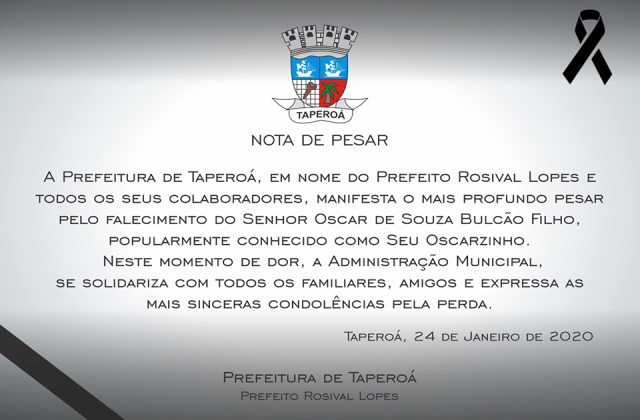Nota de Pesar Prefeitura de Taperoá